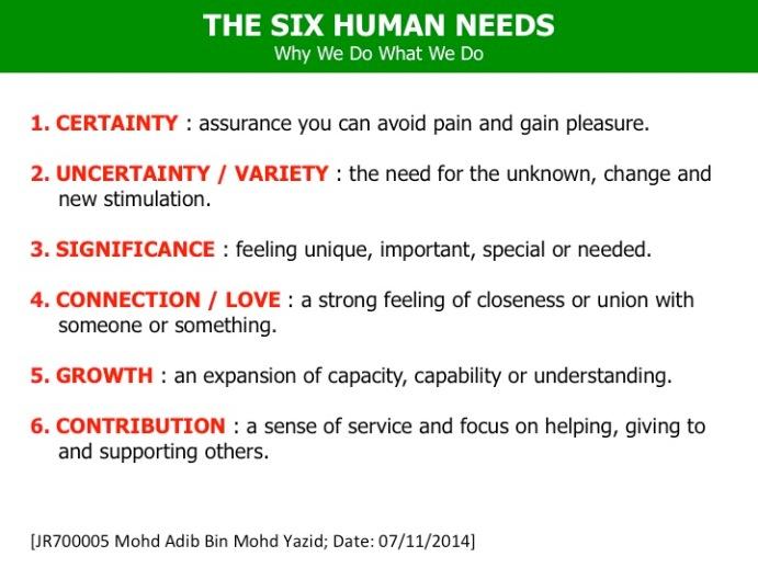 Adib Yazid The Six Human Needs