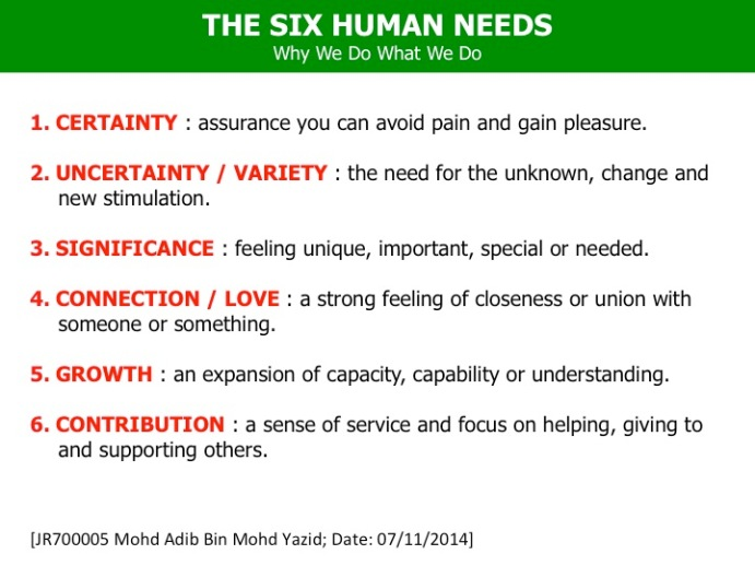 Adib Yazid The Six Human Needs