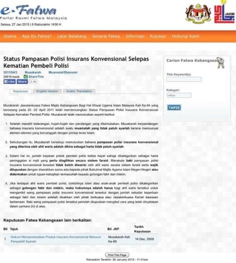 Fatwa Pampasan Insuran Konvensional